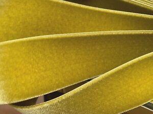 "Vintage Rayon Satin Back Velvet Ribbon 1.5"" Mustard Seed Woven Edge 1yd France"