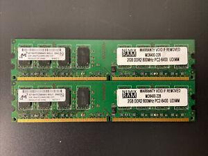 4GB (2 x 2GB) DDR2 PC2-6400 800Mhz Micron Desktop Computer Memory