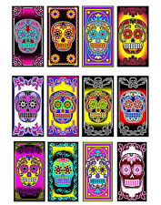 Day of the Dead Halloween 12 sugar skull flowers stickers scrapbooking crafts