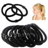 10 Hair Bobbles Elastic Stretchy Band BLACK Ponytail Rubber Tie Up Holder Rubber