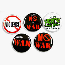 5 ANTI WAR PEACE Buttons Pins Badges 1 inch Set No War
