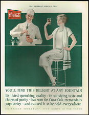 1920s BIG Old Vintage Coca-Cola Soda Fountain Jerk Lady Fashion Art Print Ad