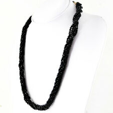 228.50 CTS EARTH MINED RICH BLACK SPINEL BRAIDED ROUND CUT BEADS NECKLACE