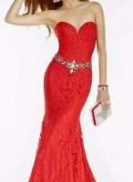Brand New Sexy Red Mermaid Lace Long Prom Dress Pageant Gown 2-10 USA Seller