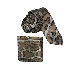 New Men's Micro Fiber Neck Tie & Hankie Set Snake animal print Black Brown