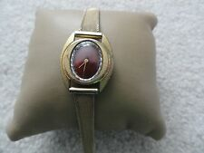 Vintage Pierre Michel  17 Jewels Incabloc Wind Up Ladies Watch with a Red Dial
