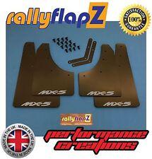 RallyflapZ to fit MAZDA MX5 MK3 Mudflaps Qty x 4 Black (4mm PVC)Logo Silver