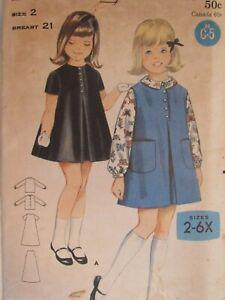 VTG 60s BUTTERICK 3230 Tdlr Girls Dress or Jumper & Blouse PATTERN 2/21B UC