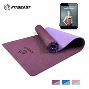 Yoga Mat, 6mm Thick Non-Slip Exercise Yoga Mat, TPE Eco Friendly