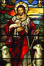 Large 12x18 Jesus Good Shepard Stained Glass Christian Painting Canvas Print