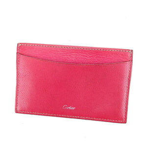 Cartier Card Case Logo Pink Silver Woman Authentic Used A1253