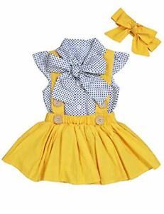 Girl Clothes Polka Dot Ruffles Sleeve Shirt+Suspender Skirt with 2Pcs Summer