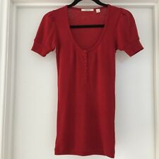 COUNTRY ROAD Women's Size XS 100% Wool Red Short Sleeve Knit Top EUC