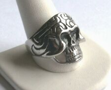 Men's Stainless Steel Skull Silver Color Ring w/Black Enamel,  Size 11, No Stone