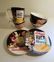2 Kellogg's Rice Krispies Ceramic 3 Piece Sets - 2 Plates, 2 Bowls, 2 Cups