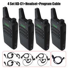 4xWLN KD-C1 Walkie Talkie Ham Radio UHF 400-470 MHz+Program Cable Handheld 2-Way
