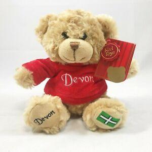Devon Plush Teddy Bear Soft Toy with red velvet embroidered jumper flag on paw