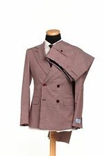 BELVEST Made in Italy Double Breasted Wool Suit Burgundy Gray 40 US 50 EU 8RSlim