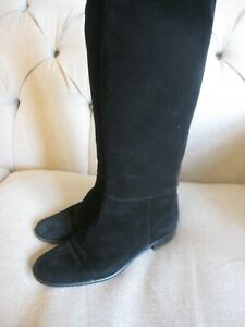 Russell & Bromley, Size EU 39, Black Suede Knee High Boots, Flat Heel