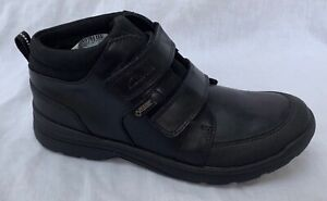 BNIB Clarks Boys Obie Top GTX Black Leather Gore-Tex School Boots