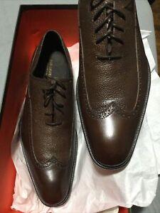 Bruno Magli Men's Wingtip Oxfords Dress Shoes italy Calf 9.5 NEW. Dark Brown.