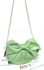 Red Valentino Green Embossed Leather Bow Crossbody Shoulder Bag Purse Clutch