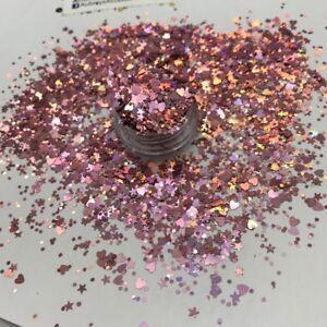 ROSE GOLD PINK UNICORN MULTI MIX GLITTER MIX FESTIVAL HAIR NAIL MUA HEARTS K54
