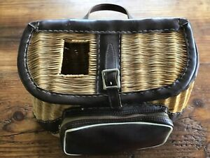 Vintage Wicker Fishing Creel, Handled  Naugahyde Front Pouch & Trim   Nice