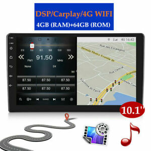 HD Touch 10.1-inch Android 10.0 GPS Navi Car Player 4+64GB WiFi 4G Carplay DSP