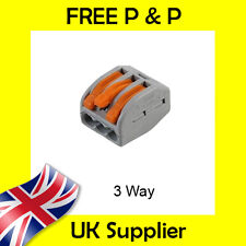 3 Way Electrical Connectors Wire Block Terminal Cable Reusable like Wago 222-413