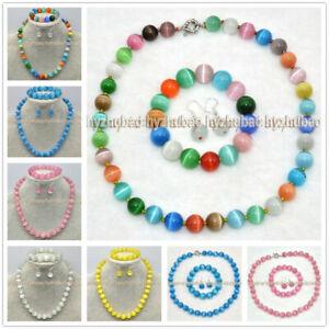 8/10/12/14mm Round Mexican Opal Cat's Eye Beads Necklace +Bracelet +Earrings Set