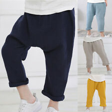 kids Cotton Linen Elastic Waist Harem Pants Boys Girl Trousers Pants Loose Solid