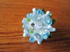 Art Glass Bead Blue Green & Clear Lg BEAD Worked Over Open Flame Canadian Artist