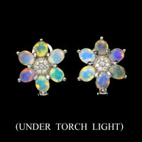 Unheated Oval Fire Opal Full Flash 5x4mm Cz 925 Sterling Silver Earrings