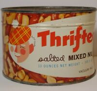 Sealed New Vintage 1950s THRIFTEE NUTS GRAPHIC KEYWIND TIN INDIANAPOLIS INDIANA