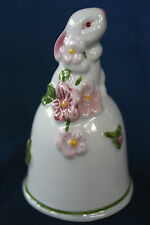 "Vntg Bell Rabbit Avon Soulful Eyes Ceramic 1984 White Pink Green 3"" Tall"