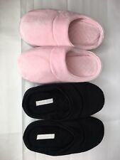 2 Pair Charter Club Microvelour Memory Foam Womens Slippers Pink Black Sz S 5-6