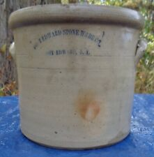 Antique FORT EDWARD, NY 1 Gallon STONEWARE CROCK with APPLIED HANDLES