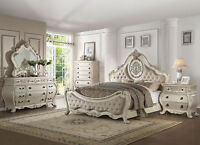 DUMONT - 5pcs Traditional White Bedroom Set Furniture w/ Queen Fabric Panel Bed
