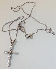 pendentif collier croix vintage argent 925 navette cristaux diamant brille 352