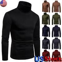US Men's Winter Turtleneck Solid T-Shirt Tops Casual Long Sleeve Pullover Jumper