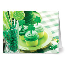 24 St. Patrick's Day Note Cards - Clover Cupcakes - Green Envs