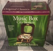 "NEW Original Classics Music Box ""City Skaters"" White Christmas, Wood Music Box"