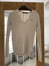 Ladies Cable Knit Ralph Lauren Jumper Xs 8-10 Cream/oatmeal