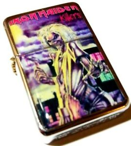 IRON MAIDEN Killers Silver Smoking Cigarette Petrol Lighter Metal Rock Merch