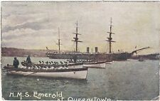 Ireland Hms Emerald At Queenstown- Now Cobh With Lifeboats Out Postcard