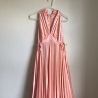 Vintage Gown Dress Vintage 60s 70s Pleated Skirt Womens Small Medium V Neck GUC