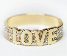 NEU 18cm ARMSPANGE Love STRASSSTEINE klar SPANGE farbe gold ARMREIF Armreifen