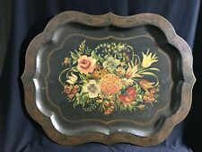"""Massive 19th c. Floral painted French Tole Antique Table Tray ~ 31.5"""" x 24"""""""