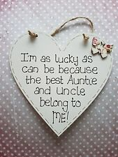HANDMADE SHABBY CHIC BUTTERFLY BEST AUNTIE AND UNCLE HEART SIGN PLAQUE GIFT